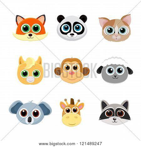 Collection of animal faces including fox, panda, cat, pony, monkey, giraffe, koala, sheep,raccoon.