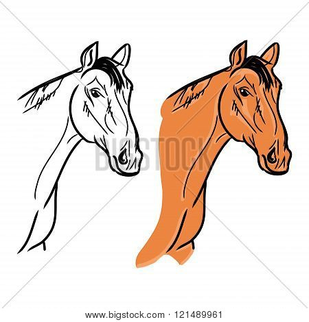 Horse's Head (outline And Orange Color)