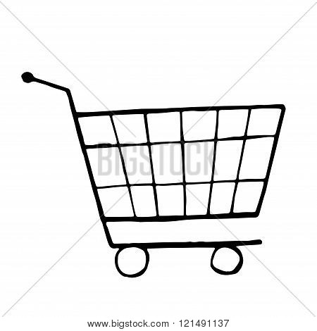 Vector doodle drawing of shopping trolley. isolated