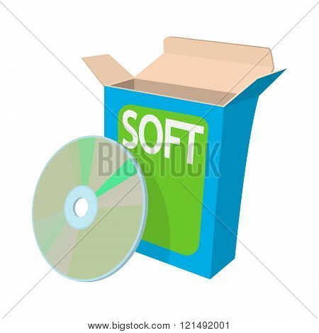 Box with a soft disc icon, cartoon style