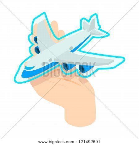 Hand holding the plane icon, isometric 3d style