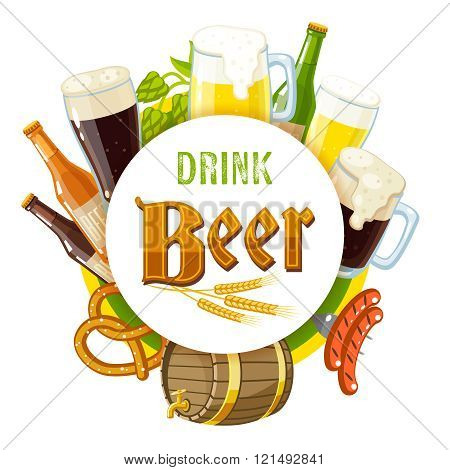 'Drink Beer' Label With Light And Dark Beer, Mugs, Bottles, Hop Cones, Barley, Beer Keg, Pre