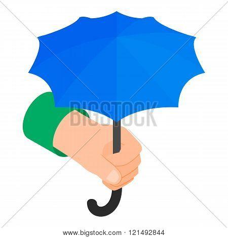 Hand holding umbrella icon, isometric 3d style