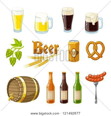 Set Of Cartoon Beer: Light And Dark Beer, Mugs, Bottles, Hop Cones, Barley, Beer Keg, Pretzel And Sa