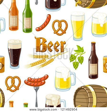 Seamless Background Pattern With Cartoon Beer Stuff: Light And Dark Beer, Mugs, Bottles, Hop Cones,