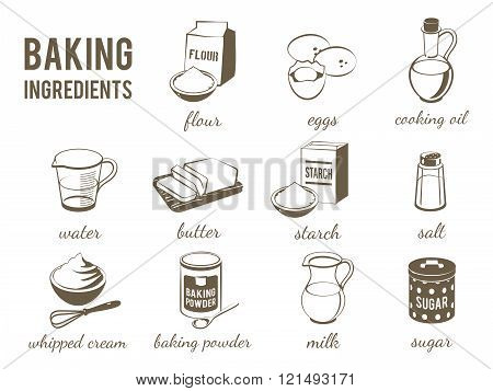 Set Of Monochrome, Lineart Food Icons: Baking Ingredients - Flour, Eggs, Oil, Water, Butter, Starch,