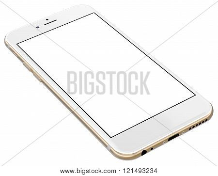 Gold smartphones with blank screen, isolated on white background.