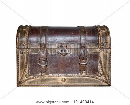 old brown leather suitcase with metal locks detail retro style
