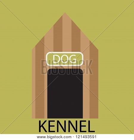 Kennel Dog Icon Flat