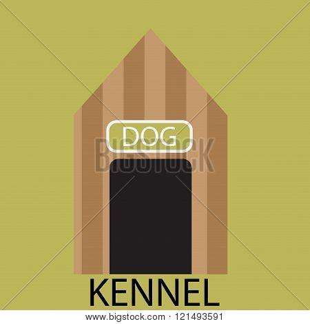 Kennel Dog Icon Flat