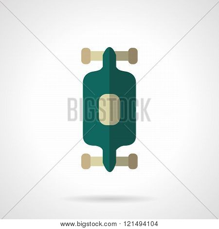 Longboard flat color design vector icon
