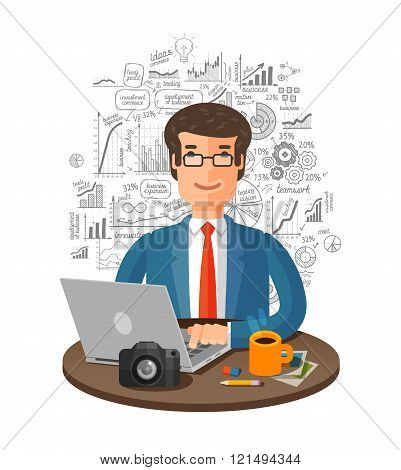 vector business infographics. businessman in office working on laptop