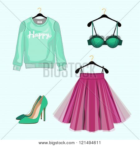Set Of Women Fashion Clothes For Shopping Catalog. Vector Sweatshirt, Skirt,shoes, Lace Bra. Fashion
