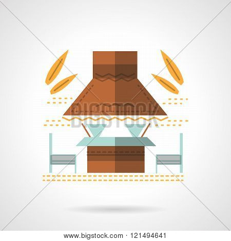 Outdoor cafe flat color design vector icon
