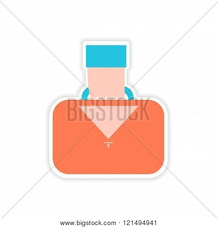 stylish sticker on paper hand holding case