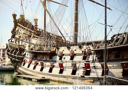 Galeone Neptune Old Wooden Ship, Tourist Attraction In Genoa, Italy