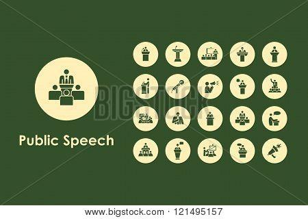 Set of public speech simple icons
