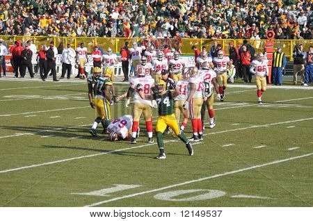 Aaron Kampman Of The Green Bay Packers Defense Celebrates