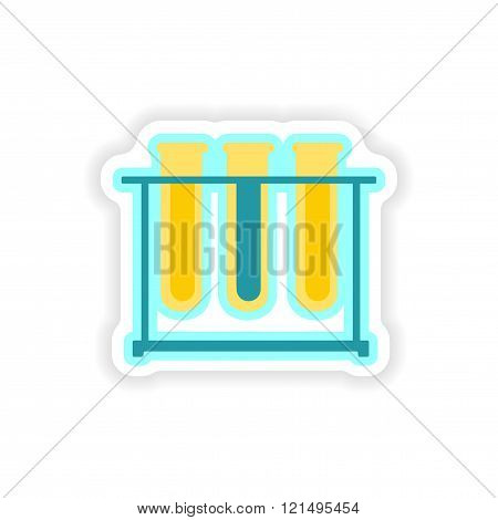 paper sticker on white background flask in stand