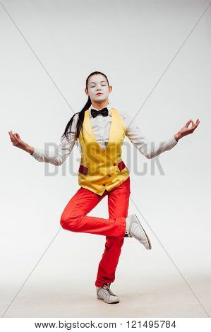 studio shot of  mime isolated on a white background