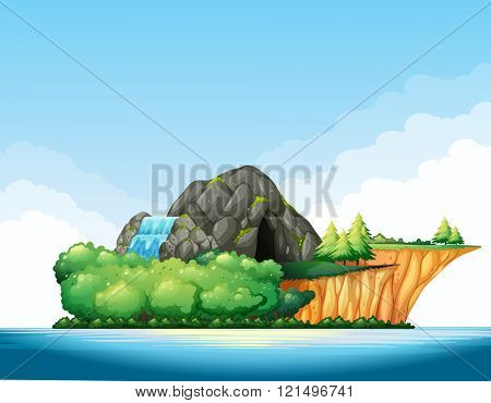 Nature scene with cave and waterfall on the island illustration
