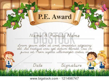 Certificate template for PE award illustration