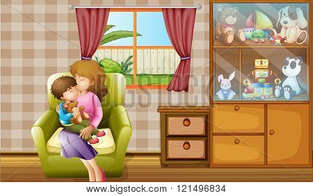 Mother kissing her son in the house illustration