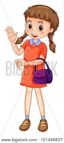Little girl carrying purple purse illustration