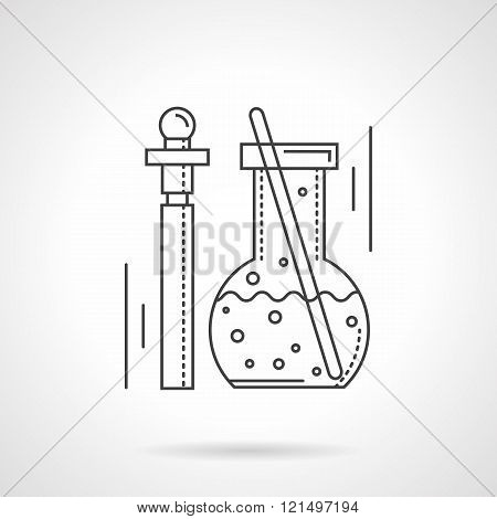 Pharmacology flat line design vector icon