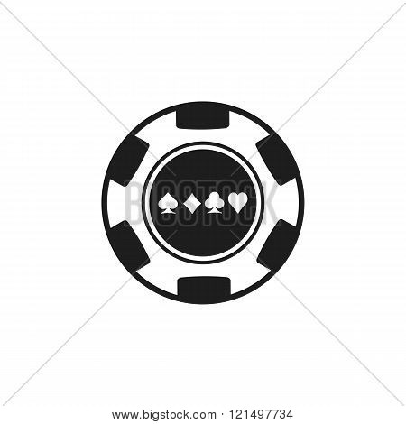 Poker chip vector black icon. Poker symbol