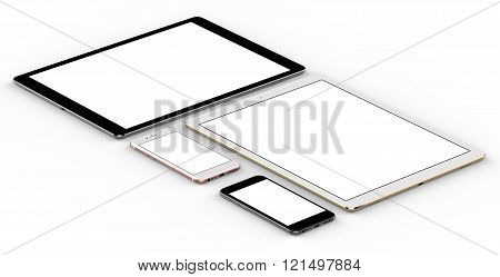 Set of tablet computer isolated on white background.