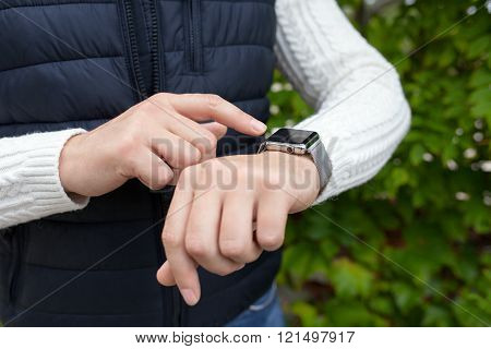 Man Hand With Apple Watch