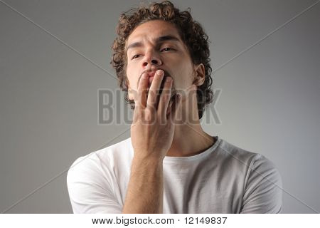 portrait of a man with indecision expression