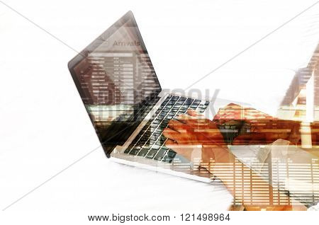 Double Exposure Of Business Man Use Notebook With Airport Scene And Flight Schedule