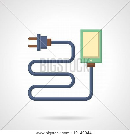 Smartphone charge flat color design vector icon