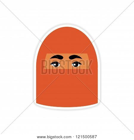 stylish paper sticker on white background woman in burqa
