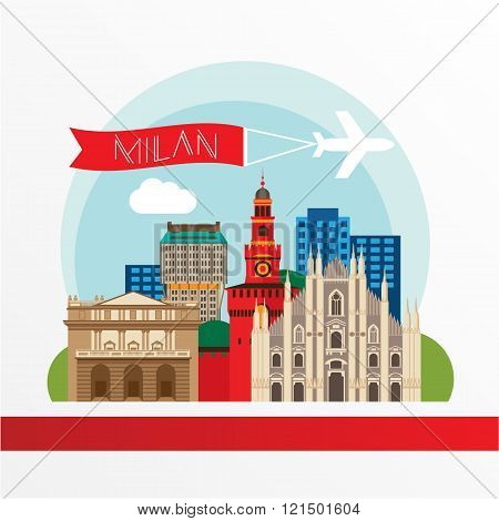 Milan detailed silhouette. Trendy vector illustration, flat style. Stylish colorful  landmarks. The concept for a web banner. Milan Cathedral and La Scala - The symbol of Milan, Italy