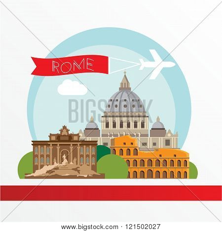 Rome detailed silhouette. Trendy vector illustration, flat style. Stylish colorful  landmarks. The concept for a web banner. The Colosseum and St. Peter's Basilica - The symbol of Italy
