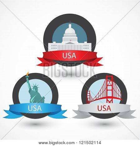 Set of USA famous monuments. Capitol, Golden Gate bridge and Statue of Liberty. Flat Vector illustration can be used in web design and travel concepts. Volume 1.