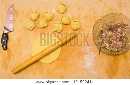 Making Dumplings, Ingredients And Kitchenware