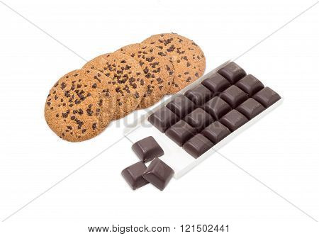 Chocolate Chip Cookie And Dark Chocolate On A Light Background