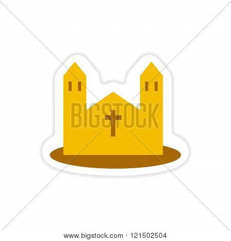 paper sticker on white background Catholic church