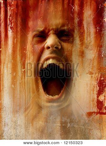 imagem no fundo de um homem gritar abstrata de crack