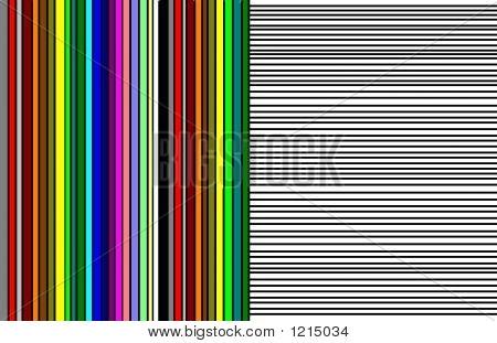 abstrakte 10 vertikale farbige Linien und horizontale Linien farblos