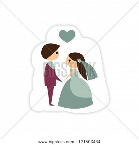 paper sticker on white background groom on knees bride
