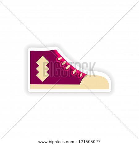 stylish paper sticker on white background gumshoes