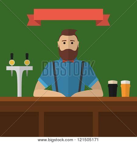 Hipster bartender