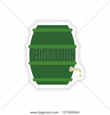 stylish paper sticker on white background keg beer