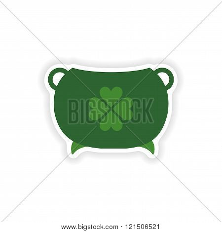 stylish paper sticker on white background bowler clover