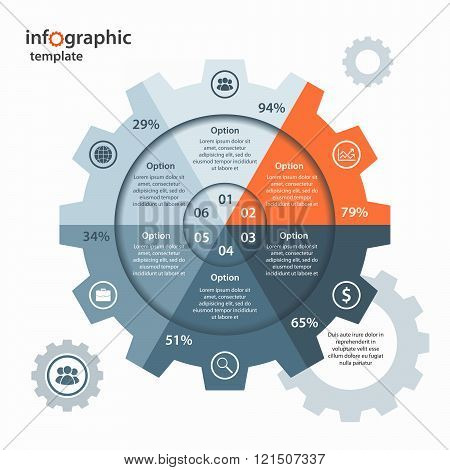 Vector gear circle infographic template for business and industry